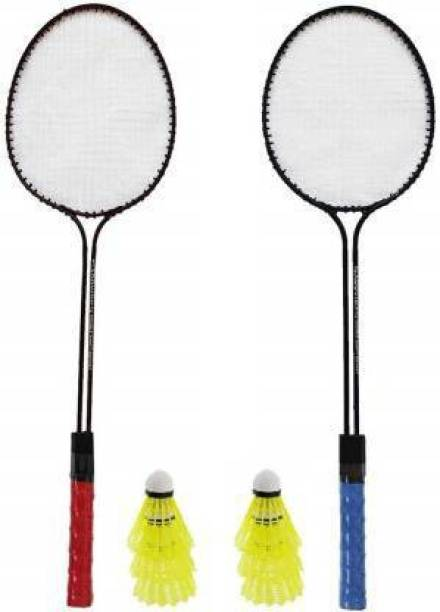 Ostrich Double Shaft Iron Body Badminton Racket Pack Of 2 Piece With 6 PiecePlastic Shuttles Badminton Kit