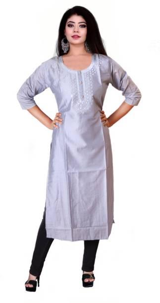 kshmya Women Solid, Self Design Straight Kurta
