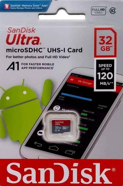 SanDisk MicroSDHC 32 GB MicroSD Card Class 10 120 MB/s  Memory Card