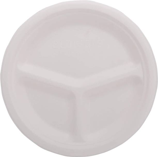 Ecoware 100% Natural, Biodegradable, Compostable, Ecofriendly, Safe & Hygienic 10-inch 3-compartemnt Round Plate (Pack of 50 Plates) Dinner Plate