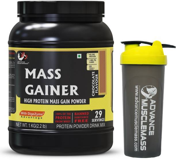 Advance MuscleMass Mass Gainer with Enzyme Blend | 7.15 G Protein | 23.46 G Carbs | With Shaker Weight Gainers/Mass Gainers