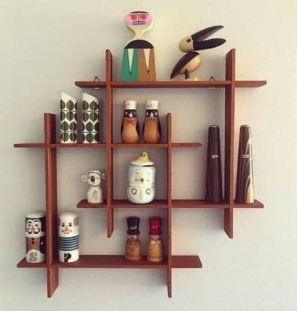 Karam Collections 8 wala plus untility shelf (Brown) Engineered Wood Display Unit