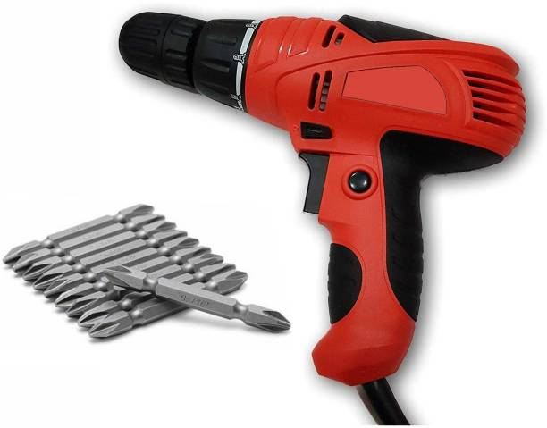 DRONA 10 mm Screwdriver Drill Collated Screw Gun Torque Adjustment System Electric Spindle Lock Screw Driver Cum Drill Machine 10mm 10 mm Screwdriver Drill Collated Screw Gun Corded with PH2++ set **Variant color** Collated Screw Gun