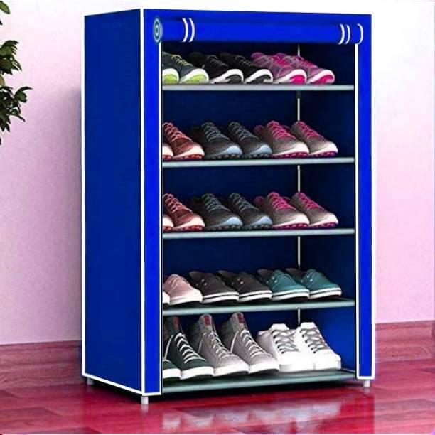 Cmerchants Home Creative 5 layer collapsible shoe rack BLUE Metal Collapsible Shoe Stand
