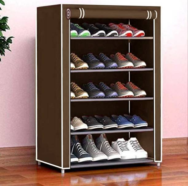 Cmerchants Home Creative 5 layer collapsible shoe rack BROWN Metal Collapsible Shoe Stand
