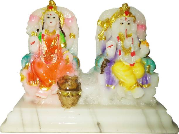 Kitlyn Laxmi Ganesh Statue Marble Finish , Ganesh Ji Murti ( For Home Temple Use,Office Temple,Gifted use item statue ) Decorative Showpiece  -  8 cm