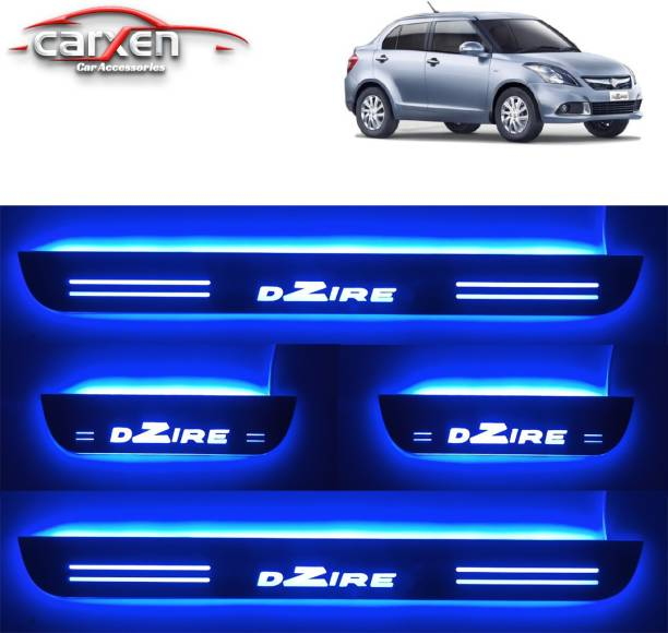 carxen Car Door Foot Step Led Sill Plate With Mirror Finish for MARUTI SWIFT DZIRE OLD MODEL (Set of 4Pcs, Blue) Door Sill Plate
