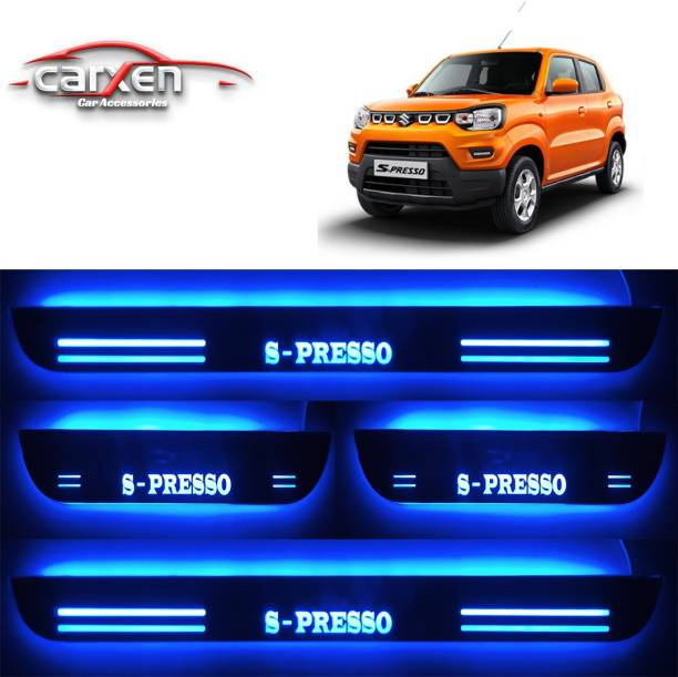 carxen Car Door Foot Step Led Sill Plate With Mirror Finish for MARUTI S-PRESSO (Set of 4Pcs, Blue) Door Sill Plate