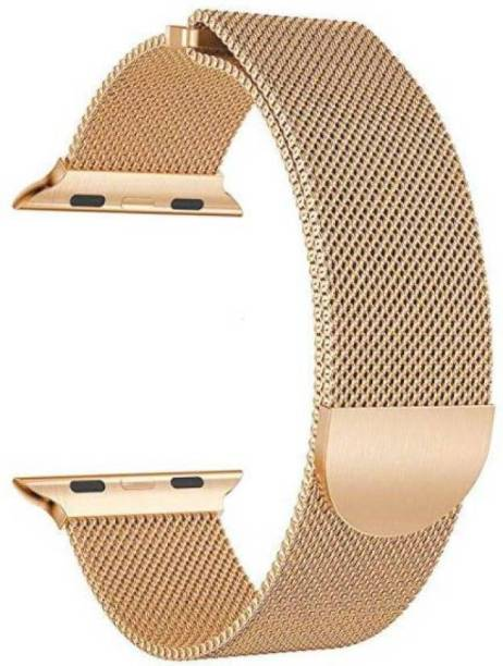 JIGO PLUS Apple Watch 42mm / 44mm Series 6,5,4,3,2,1 Watch Stainless Steel Milanese Loop Strap with Magnetic Lock Buckle Gold Smart Watch Strap