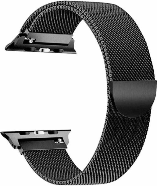 JIGO PLUS Apple Watch 42mm / 44mm Series 6,5,4,3,2,1 Watch Stainless Steel Milanese Loop Strap with Magnetic Lock Buckle (Black) Smart Watch Strap