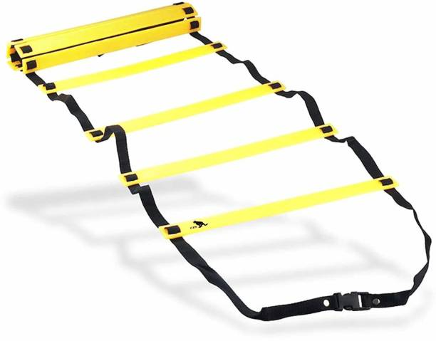 GRS sports 4Meter / 9Rungs Speed / Agility Ladder for Fitness, Sports, Training, Quickness Training Faster Footwork & better Movement Skills Speed Ladder (Yellow) Speed Ladder