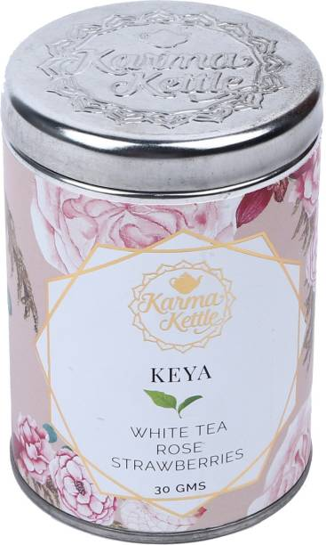 Karma Kettle Keya White Tea with Rose Petals, Strawberry, Cinnamom and Fennel White Tea Tin