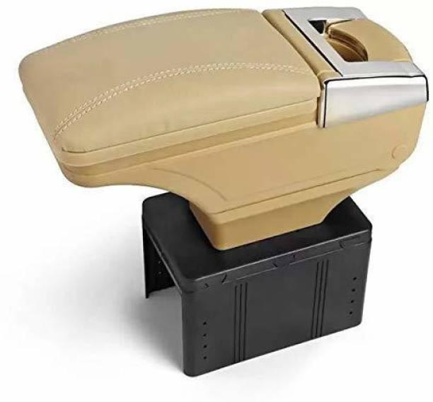 Allure Auto Car Armrest with Glass Holder & Ash Tray Beige & Chrome for Maruti Ertiga Car Armrest