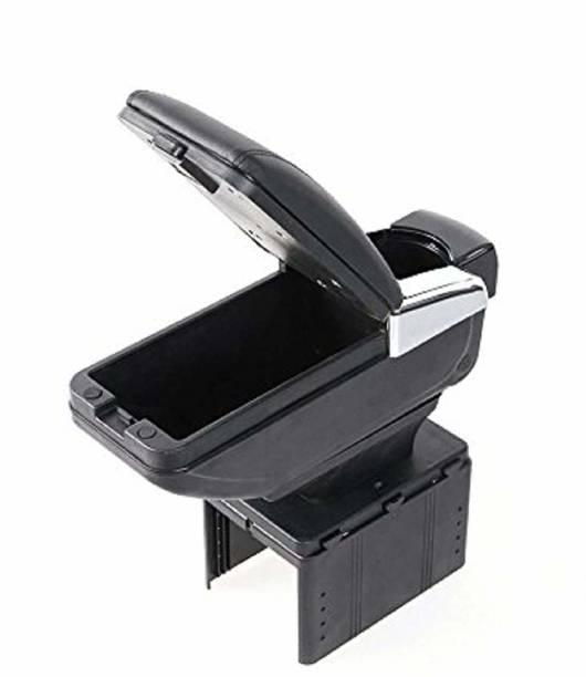 Allure Auto Car Armrest with Glass Holder & Ash Tray Black & Chrome Car Armrest