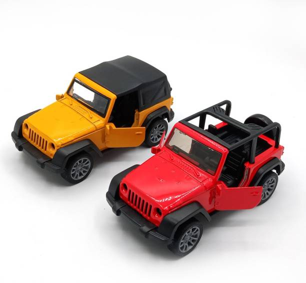 Toyshack Pull Back 1:36 Die Cast Military Off Road Jeeps with Rubber Wheels & Door Opening for Kids, Multicolor