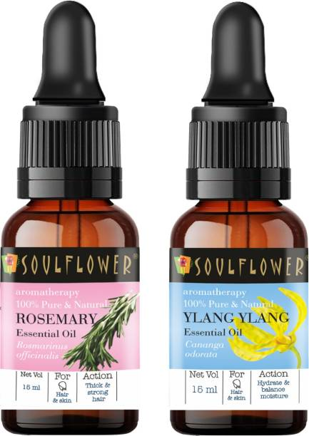 Soulflower Ylang Ylang Essential Oil 15ml & Rosemary Essential Oil 15ml (30 ml)| 100% Pure, Natural and Undiluted for Hair, Skin and Face