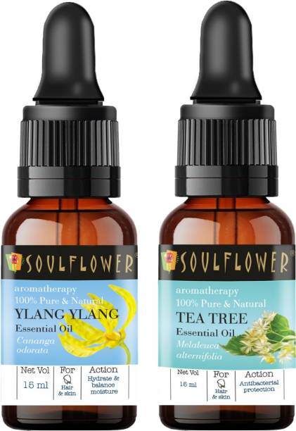 Soulflower Ylang Ylang Essential Oil 15ml & Tea Tree Essential Oil 15ml (30 ml)| 100% Pure, Natural and Undiluted for Hair, Skin and Face