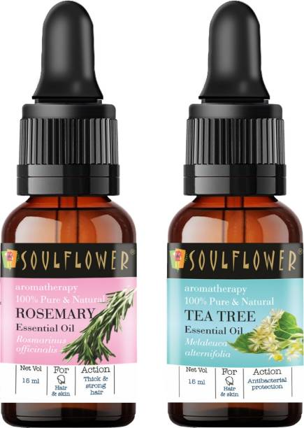 Soulflower Rosemary Essential Oil 15ml & Tea Tree Essential Oil 15ml (30 ml)| 100% Pure, Natural and Undiluted for Hair, Skin and Face
