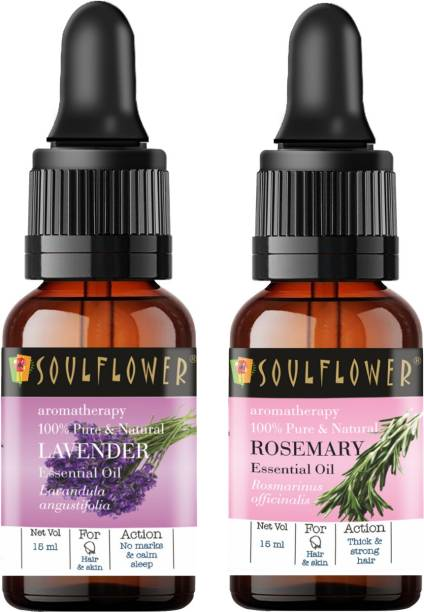 Soulflower Lavender Essential Oil 15ml & Rosemary Essential Oil 15ml (30 ml)| 100% Pure, Natural and Undiluted for Hair, Skin and Face