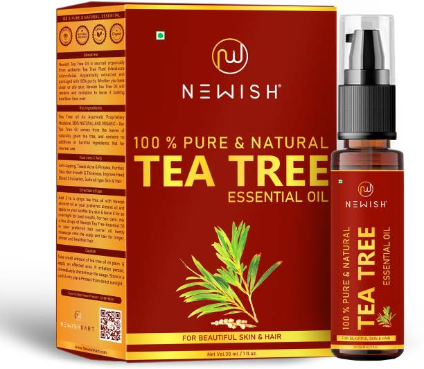 NEWISH Teatree 100% Natural Essentail Oil for Acne Blemish Free Glowing Skin, Stress ,Hair AntiDandruff Undiluted Therapeutic Grade (30 ml)