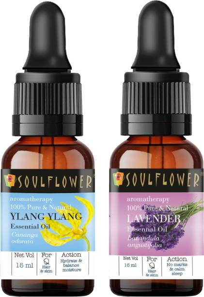 Soulflower Ylang Ylang Essential Oil 15ml & Lavender Essential Oil 15ml (30 ml)| 100% Pure, Natural and Undiluted for Hair, Skin and Face