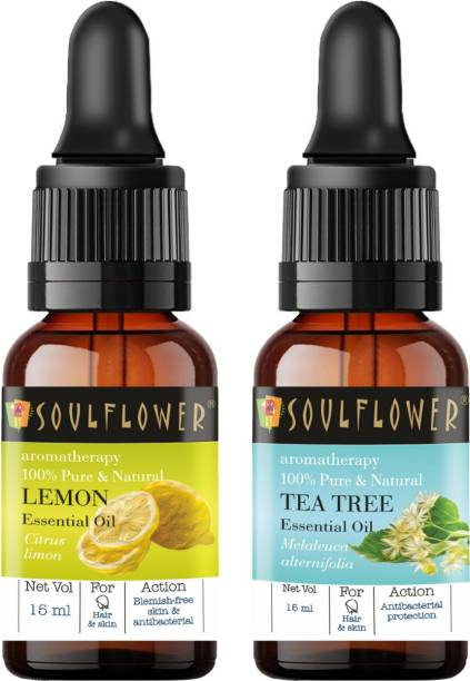 Soulflower Tea Tree Essential Oil 15ml & Lemon Essential Oil 15ml (30 ml)| 100% Pure, Natural and Undiluted for Hair, Skin and Face