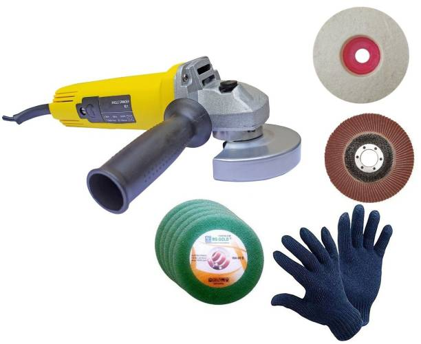 Inditools High Quality 850 W Angle Grinder Machine with GLOVES 5pc cutting 1pc Felt and 1pc Flap wheel set (Pack of 5) Angle Grinder