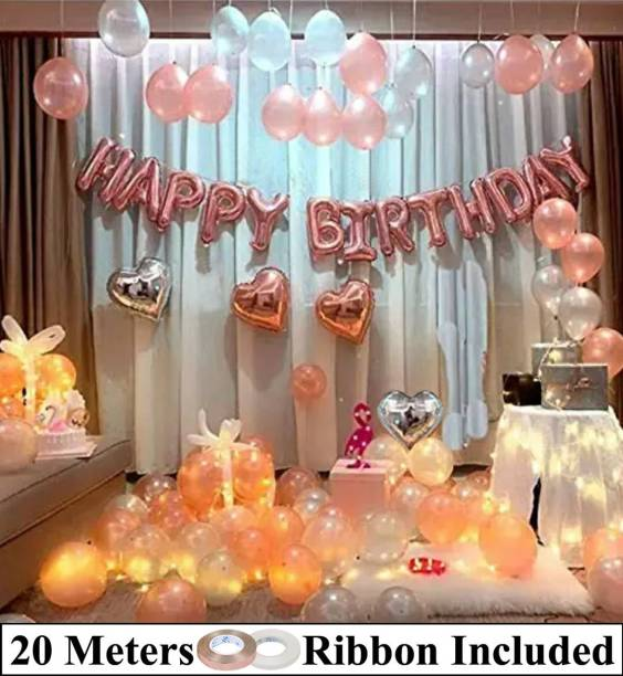 DECOR MY PARTY Happy Birthday Rosegold Letter Foil Balloon Set with Heart Shape , Metallic Balloons & Curling Ribbon for Girls Birthday Party Decoration / 1st Birthday Decorations Kit for Baby Girl