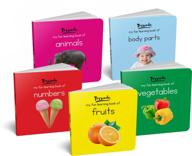 My Fun Learning Board Books - Pack 1 (Animals, Fruits, Vegetables, Numbers, Body Parts) (Pocket Size)