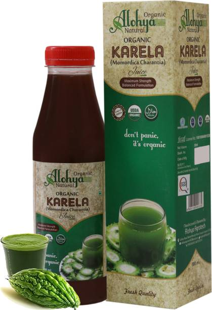Organic Alohya Natural Karela Juice (Bitter Gourd)   Immunity and Digestion booster   Strong Liver   Control Diabetes and Sugar Level   No added Sugar and Colour   500 ml