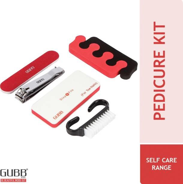 GUBB Pedicure Kit Tools - Foot Filer, Nail Cutter, Nail Brush, Nail Buffer, Toe Nail Spacer