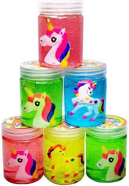 anjanaware Crystal Clear Putty Slime Jelly Clay with UNICORN Figures Educational Toy Set Multicolor Putty Toy
