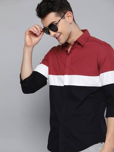 3SIX5 Men Color Block Casual Maroon, White, Black Shirt