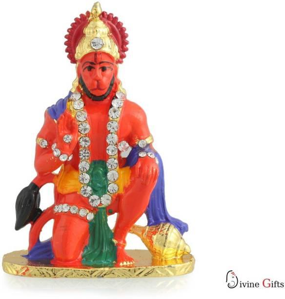 Divine Gifts & Artificial Jewellery Hanuman Aashirwad Orange Prince Stone Stand Showpiece Decorative Showpiece  -  7.5 cm