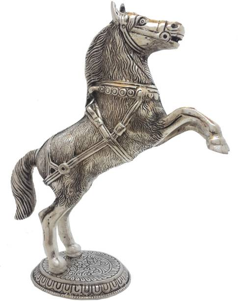 DivineCrafts White Metal Solid Body Horse Decorative Showpiece  -  25 cm