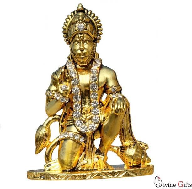 Divine Gifts & Artificial Jewellery Hanuman Aashirwad Golden Stone Showpiece Decorative Showpiece  -  7.5 cm