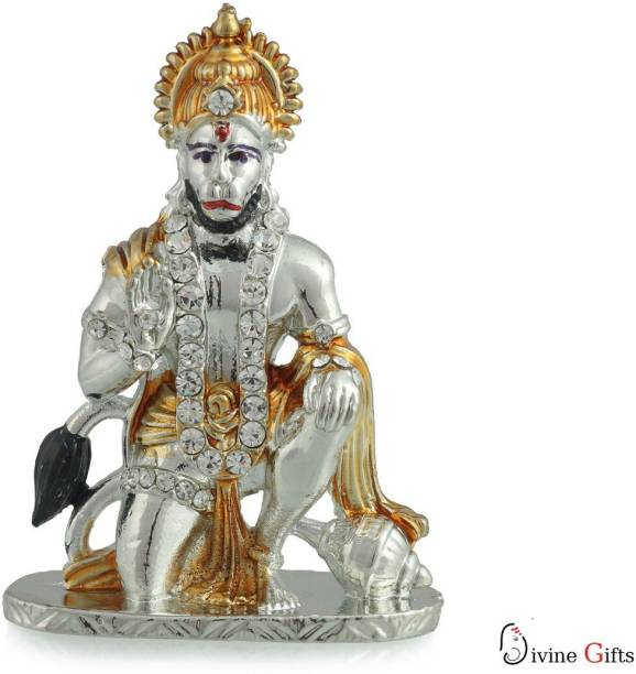 Divine Gifts & Artificial Jewellery Hanuman Aashirwad Silver Golden Stone Showpiece Decorative Showpiece  -  7.5 cm
