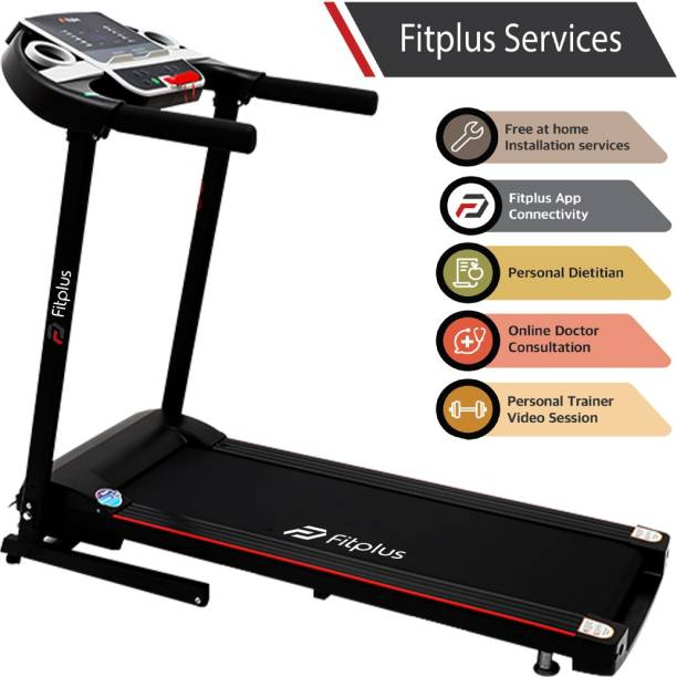 FITPLUS FSRM0701 (2HP Peak Power) Easy Lubrication with Free Diet Plan,Personal Trainer & Installation Services Treadmill