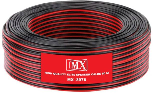 MX  TV-out Cable 50 Meters -165Feet Flexible Oxygen-Free Red Black Speaker Wire Cable-3976