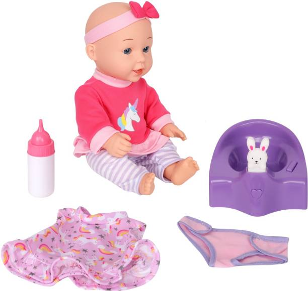 Miss & Chief 12 inch Premium Quality Cuddly Baby Doll with Potty Seat, Clothes & accessories , Extreme fun to play with Kids