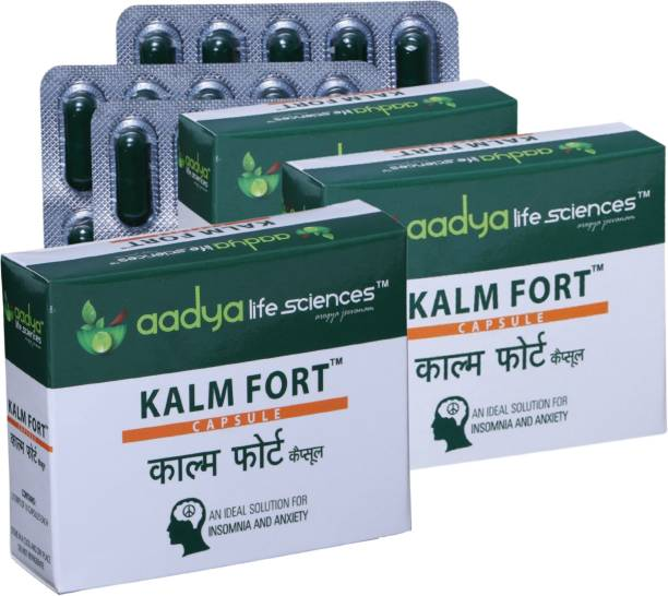 Aadya Life Kalm Fort Capsules , A Herbal capsules for Anxiety, Depression, Stress reliever and Sleeplessness