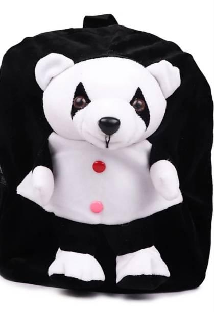 3G Collections Black Panda Velvet Soft Toy Kids Plush Bag/School Bag/Picnic Bag/Teddy Bag For Kids 2-6yrs Waterproof School Bag