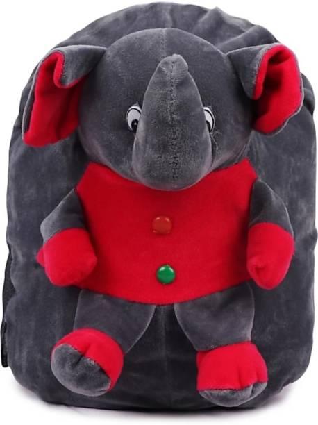 3G Collections Grey Elephant Velvet Soft Toy Kids Plush Bag/School Bag/Picnic Bag/Teddy Bag For Kids 2-6yrs Waterproof Plush Bag