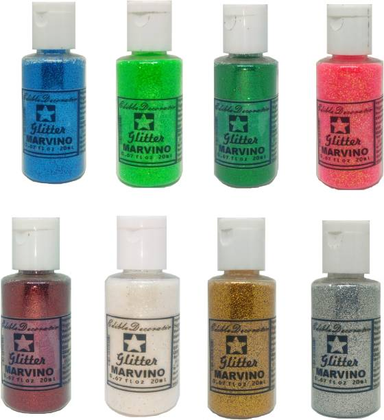 Marvino Edible Glitter for Cakes, Ice Cream, Whipcream, Pastries, Makeup, Art and Craft (Pack of 8) Glitters