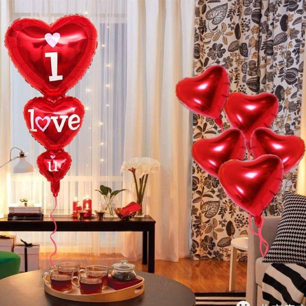 SV Traders Solid Valentines Day Special Red Combo-I Love u Foil Balloon(2)+Foil Heart Red(6) For Valentines Day / Anniversary / Marriage Party Decoration-Total-8 Balloon