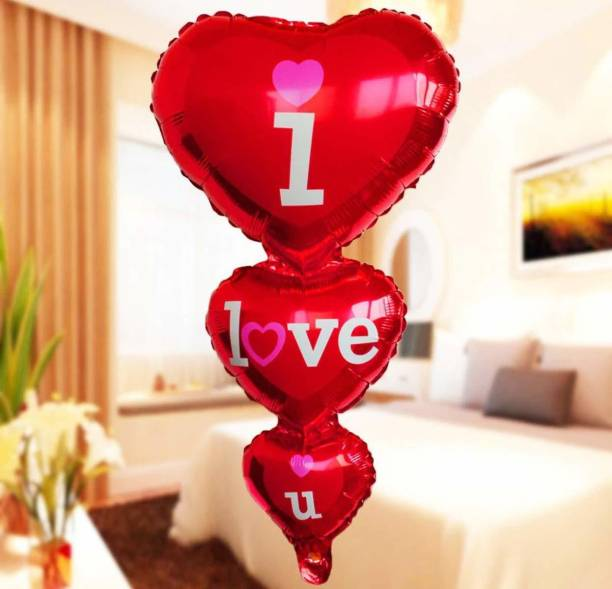 SV Traders Printed Love u Foil Balloon(Triple Heart) for Valentines Day / Anniversary / Marriage Party Decoration - (1 Piece) Balloon