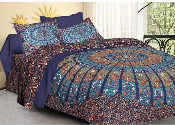 crafton 144 TC Cotton Double King Floral Bedsheet