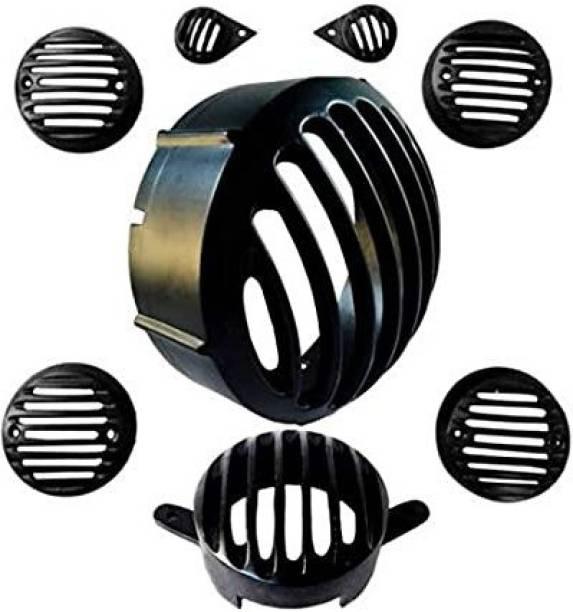 JBRIDERZ Heavy Metal Series Classic Bullet Grill Bike Headlight Grill (Black) Bike Headlight Grill