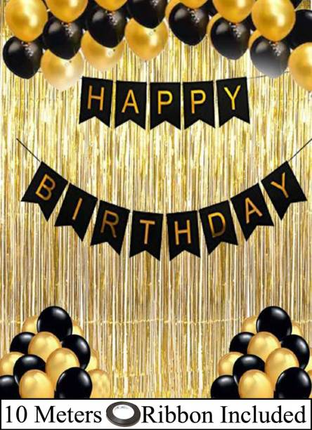 DECOR MY PARTY Happy Birthday Paper Banner with Golden Foil Curtain , Metallic Balloons & Curling Ribbon for Birthday Party Decoration / Birthday Decorations Kit