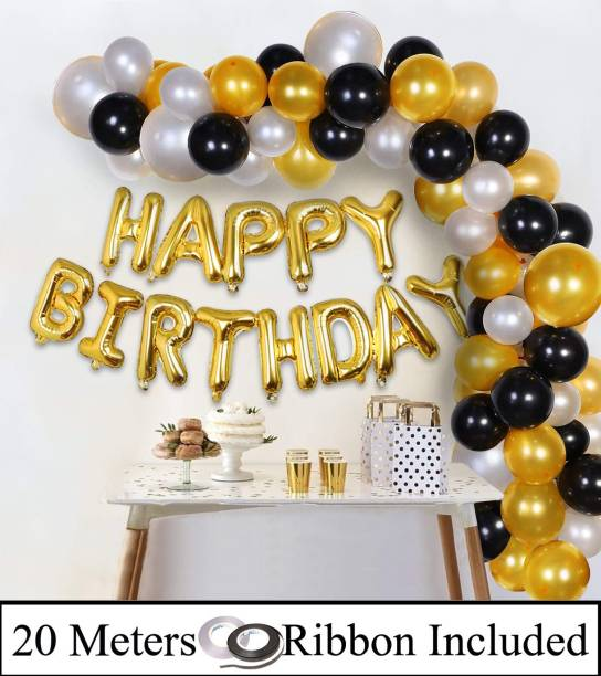DECOR MY PARTY Happy Birthday Golden Letter Foil Balloons Combo With Metallic Balloon & Curling Ribbon For Birthday Decoration / Birthday Party Decorations Kit